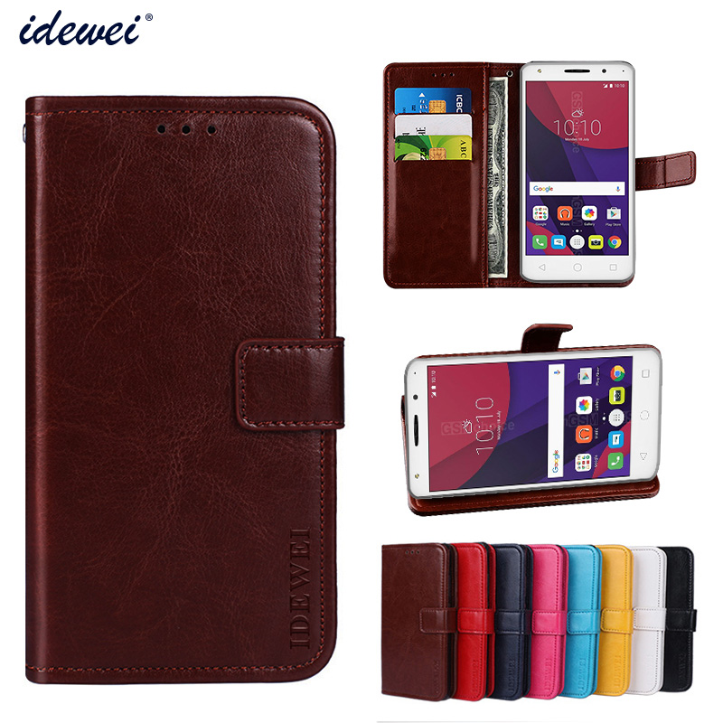 Luxury Flip PU Leather Wallet Mobile phone Cover Case For Alcatel Pixi4 5.0 4G with Card Holder
