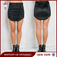 2015 Fashion Lace Up front Black micro Mini Skirt latest model