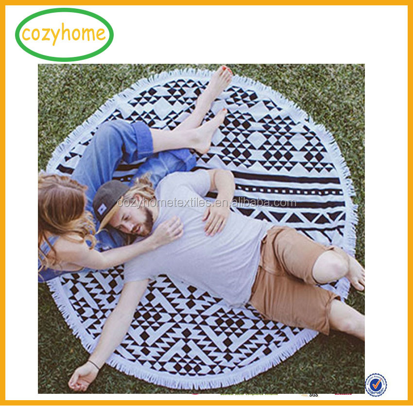 China wholesale mandala roundie towel 100% cotton round beach towels with black tassels fringe oversized yoga mat blanket