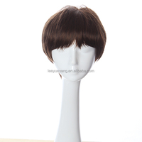 Cool Short Wig Korean Men's toupee Hairstyle Brown Wigs