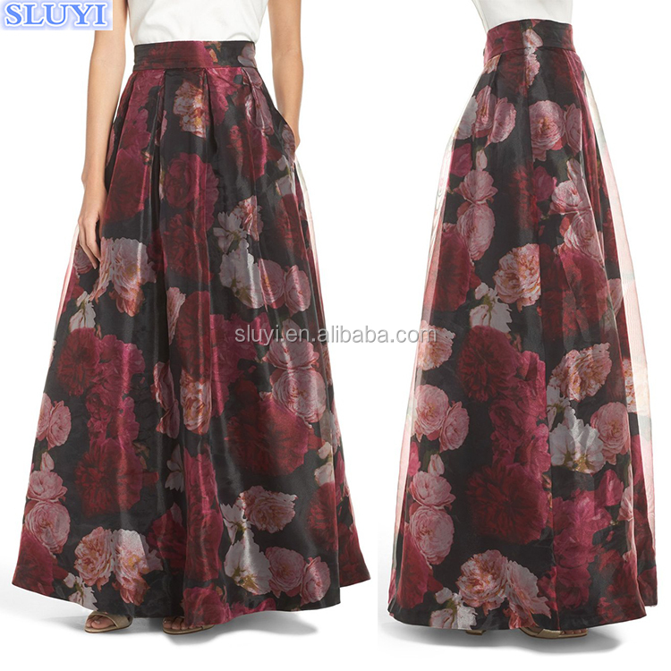 Wholesale women long skirt adult tutu skirt 2016 floral print organza ball skirt