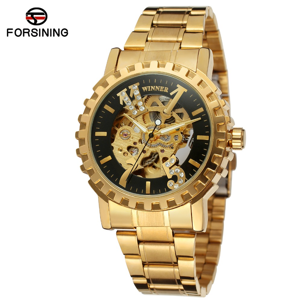2017 Latest Hand Watch For Girl Fashion Lady Skeleton Automatic Gold Wristwatch