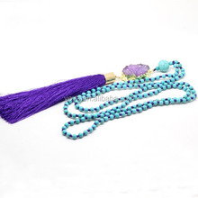 NE2301 Fashion turquoise beads knotted purple druzy necklace with purple tassel