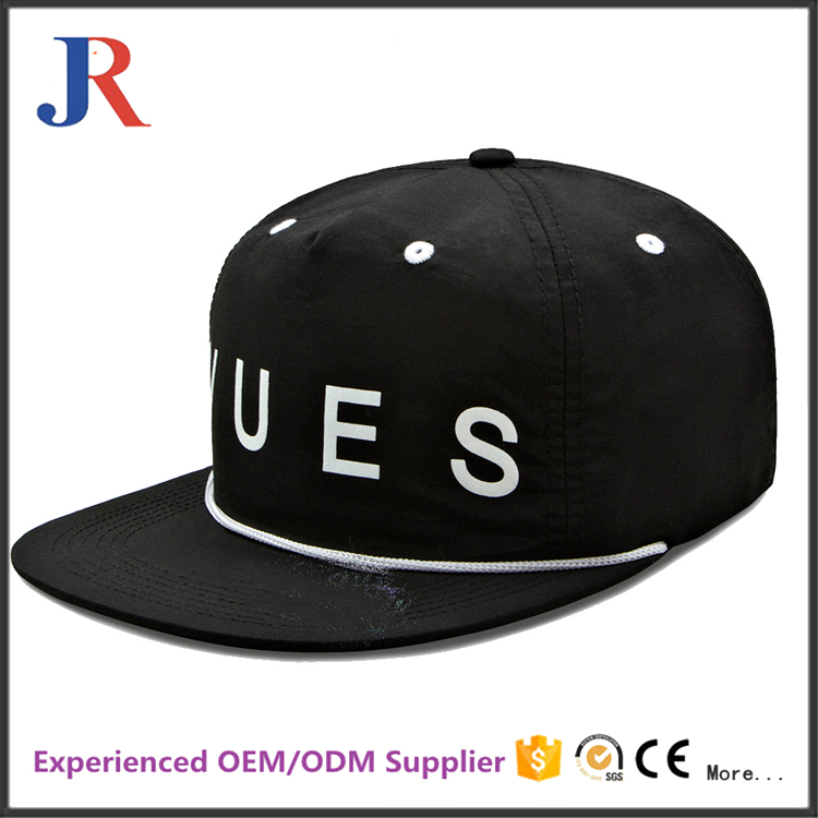 Custom promotional unisex flat brim unstructured 6panel snapback cap with string