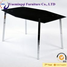 latest unique black polygon dining table design in glass and metal