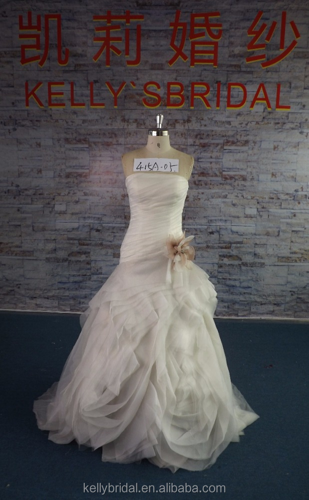 415A-05 Ivory ONLY 1pcs In stock 42# Luxury Ruffle Wedding Dress With Organza Flower Sash Cheap Bridal Gown For Women Weddng