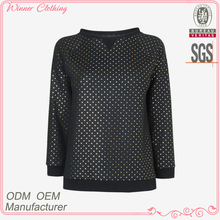 Fashion polyester and wool long sleeves round neck white ball print sports chevrolet blazer