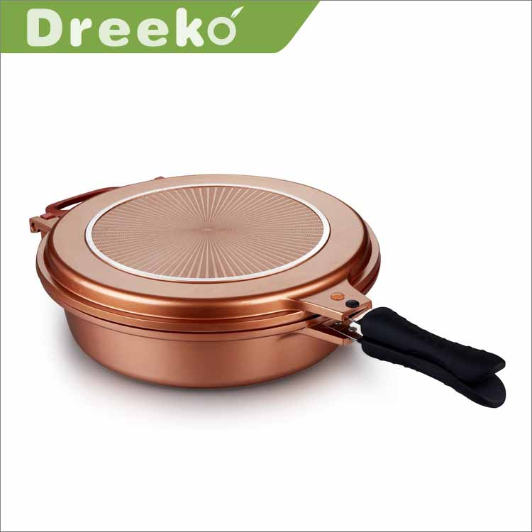 Die cast aluminum double sided divided roaster pan with special coaing design