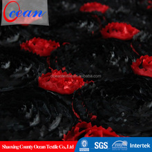 Ocean textile polyester material embroidered sheer fabric for embroidery design upholstery