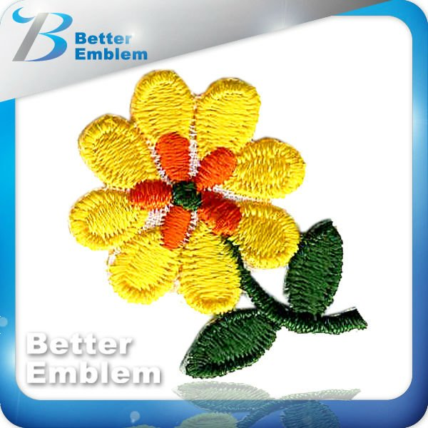 Flower embroidery brand iron on patches wholesale