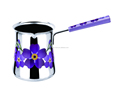 DC025D Newest Colorful Handle Stainless Steel Milk Pot With Decal