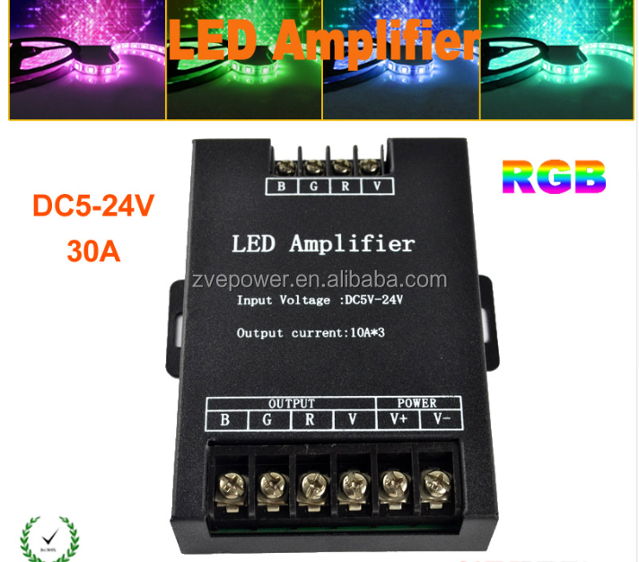30A DC5V-24V LED Amplifier RGB 7 Colors Signal Amplifier for RGB LED Strip /LED Module Light 5V 12V 24V CE RoHS X