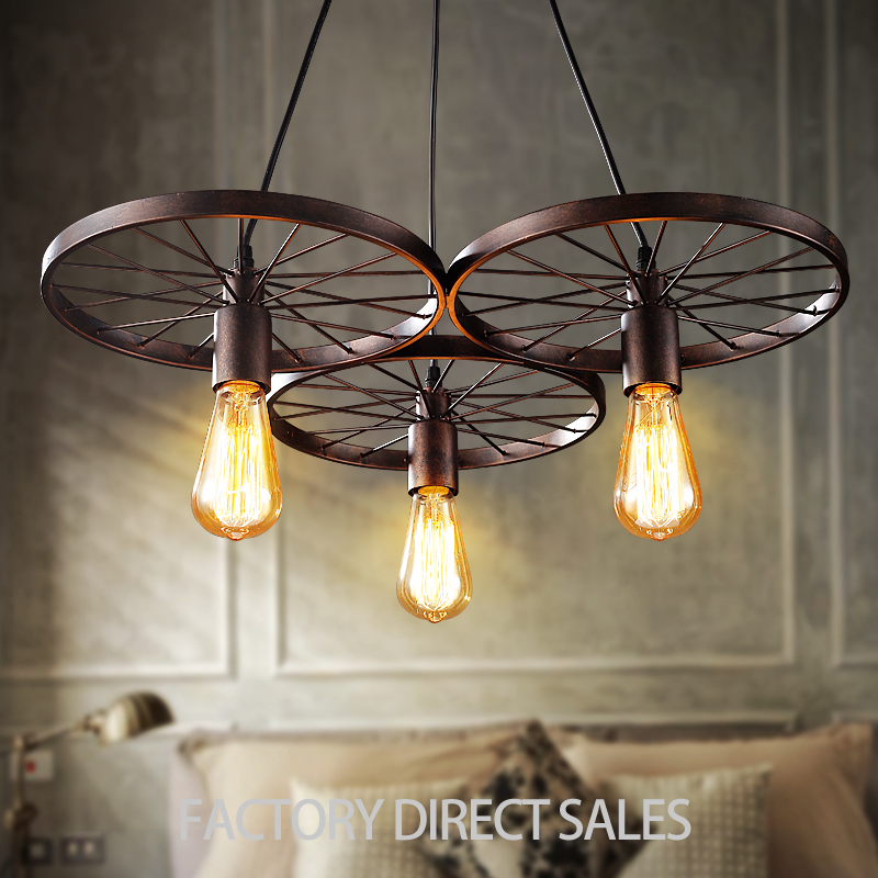American industrial Loft light Creative vintage wheel pendant lamp for Clothing room Restaurant