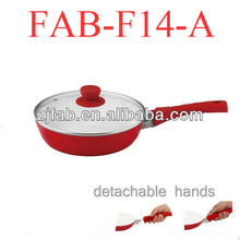 Aluminum cookware items Ceramic Frying Pan With tempered glass cover and Removable Handle