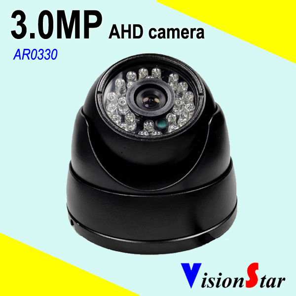VisionStar osd menu control waterproof cctv 3mp dome ir ahd camera with wide angle lens