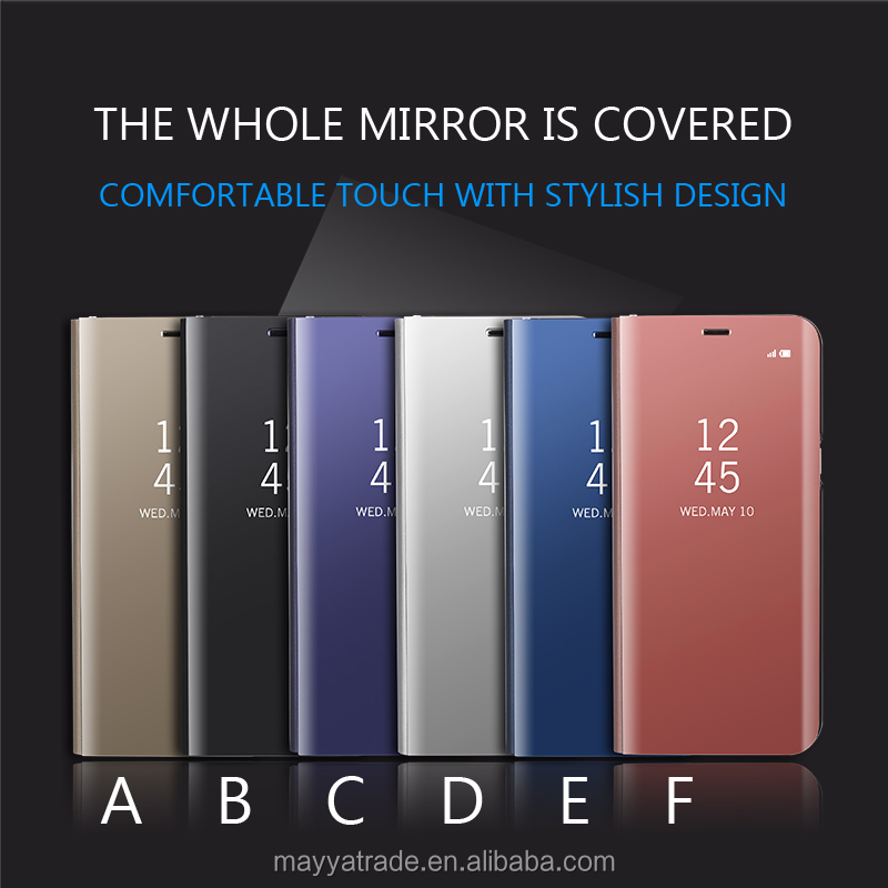 Mirror Plating Clear Smart Leather Flip Stand Case Cover for Samsung Galaxy S8 S8+ Note8 S7 S6