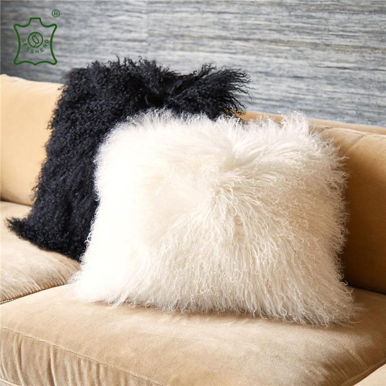 products pillow cushion grey x mongolian sheepskin snugrugs