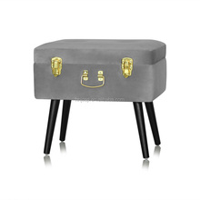 Home Living Colorful Storage Trunk Ottoman Suitcase Foot Rest Velvet Pouf Ottoman