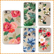 Wholesale custom floral printing silicone clear tpu phone case for iphone 7