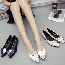 KS30295A 2018 Trendy Metal Heart Design Point toe Casual Ladies Flat Shoes