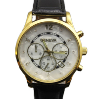 Fashion design high quality PU leather band shell face geneva watch hot sales leather quartz analog watches women men watches