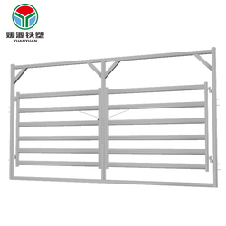 Good price cattle rail double gate livestock sheep horse panel metal fence in frame