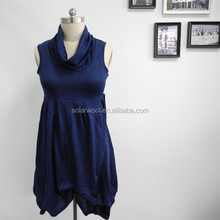 Summer Womens Sleeveless Blue Casual Ladies Dress