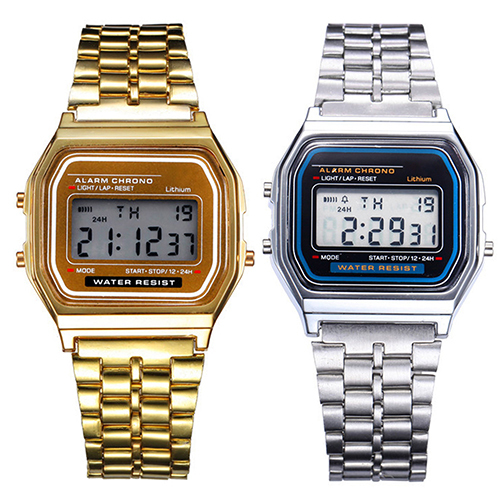2016 2015 hot Men Women Watch Vintage Stainless Steel LED Digital Sports  Wristwatches 1MAM 6T5P
