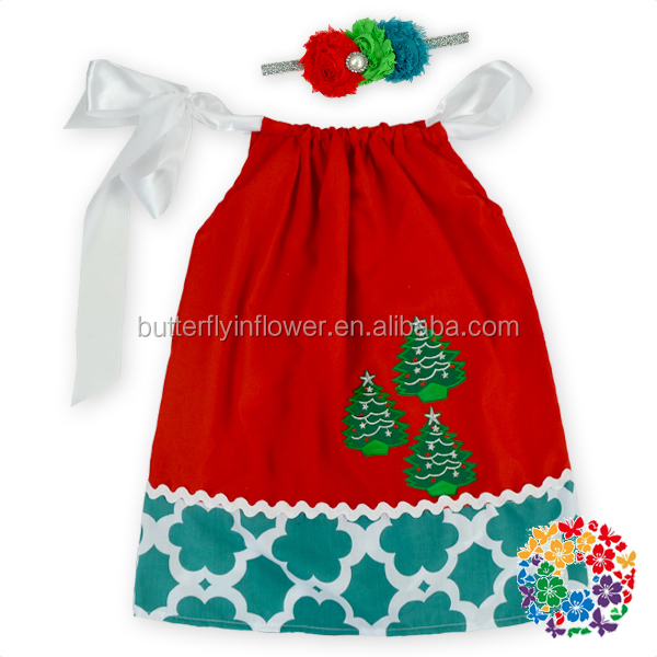 Wholesale Toddler Boutique Smocked Clothing Christmas Red Green Tree Dress Girls Birthday Party Dresses
