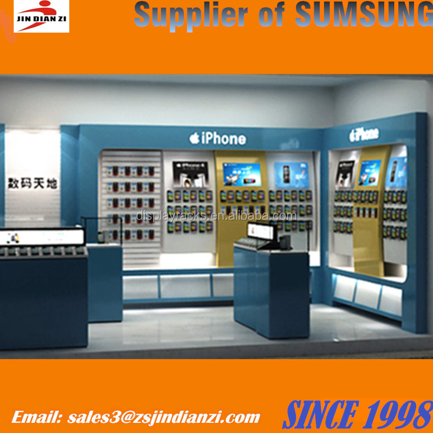 Mobile phone shop interior design with display showcase, mobile phone display counter design