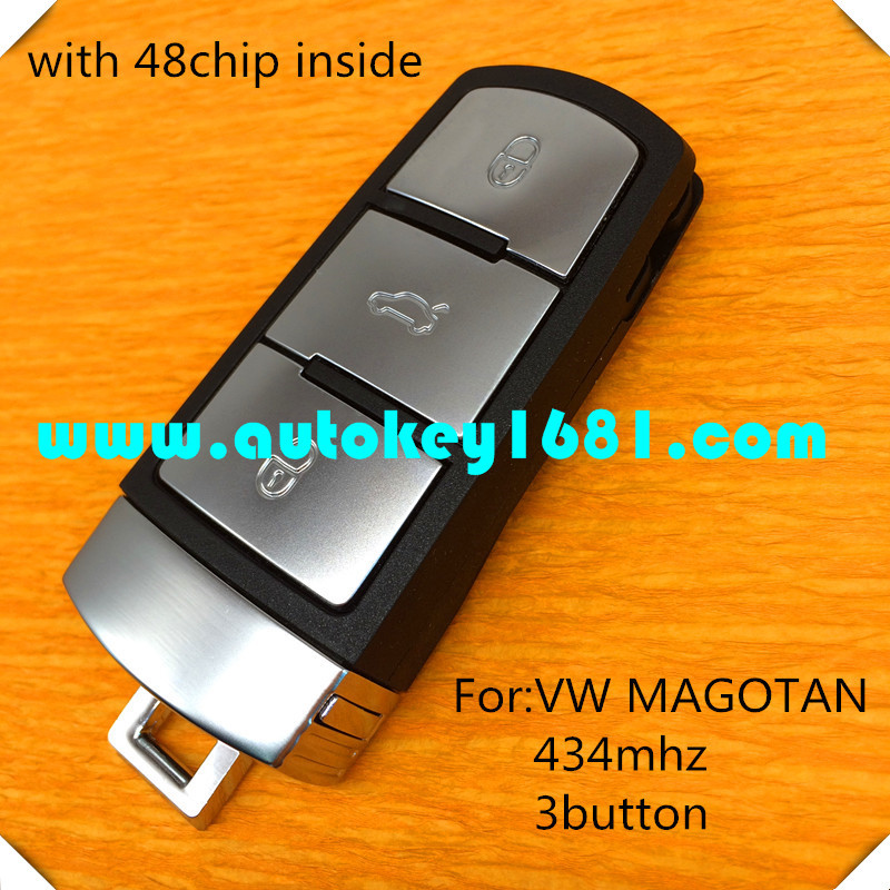 3C0959752BA car key for vw magotan 3 button remote control key 434mhz smart card with 48chip uncut small key blade