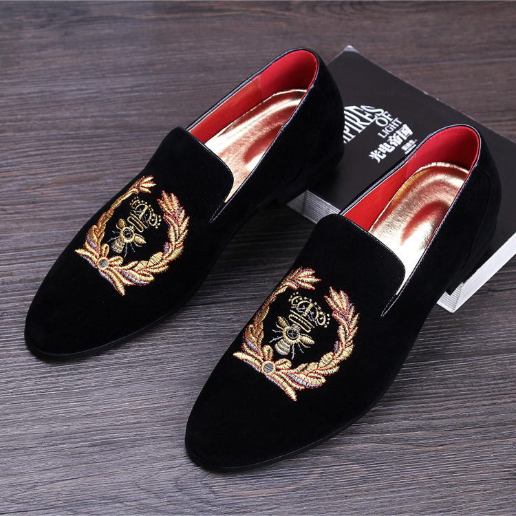 MS004 Wholesell Chinese New Fashion Gold Top Men Velvet Dress shoes italian mens dress shoes Handmade Loafers