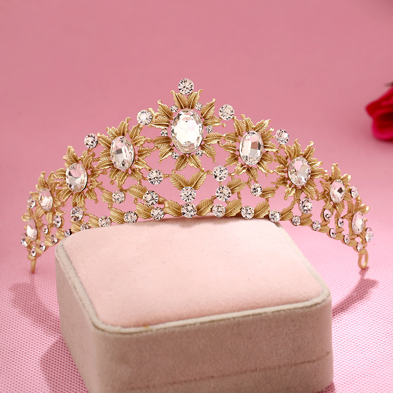 Fashion Hair Accessories Large Crystal Inlaid Bloom Flower Bridal Tiara wedding hair crown Beauty pageant crown