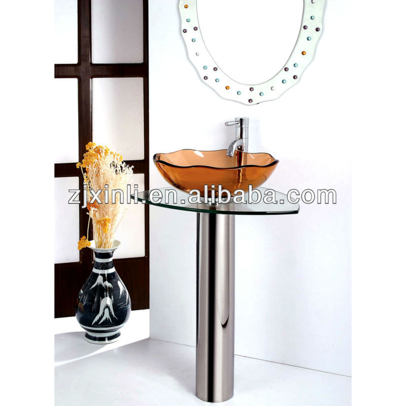 High Quality Tempered Washing Glass Basin, Transparent Glass with Stainless Steel Holder