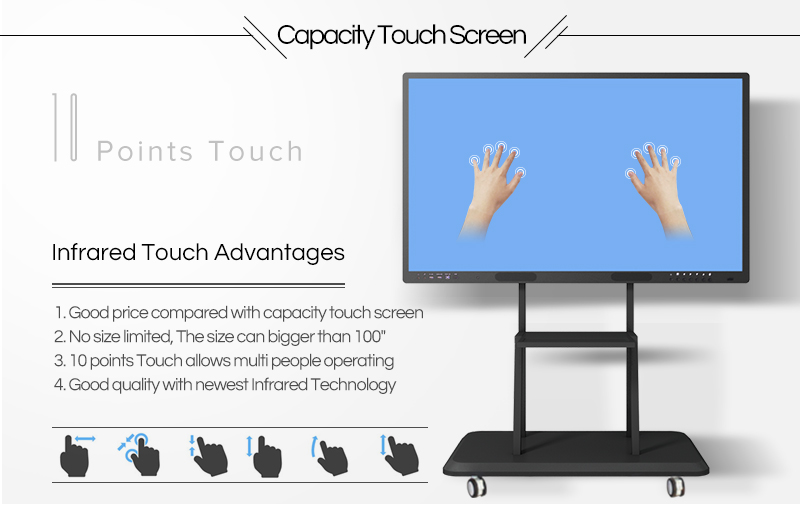 98 inch all in one pc and android dual system smart interactive whiteboard digital for classroom