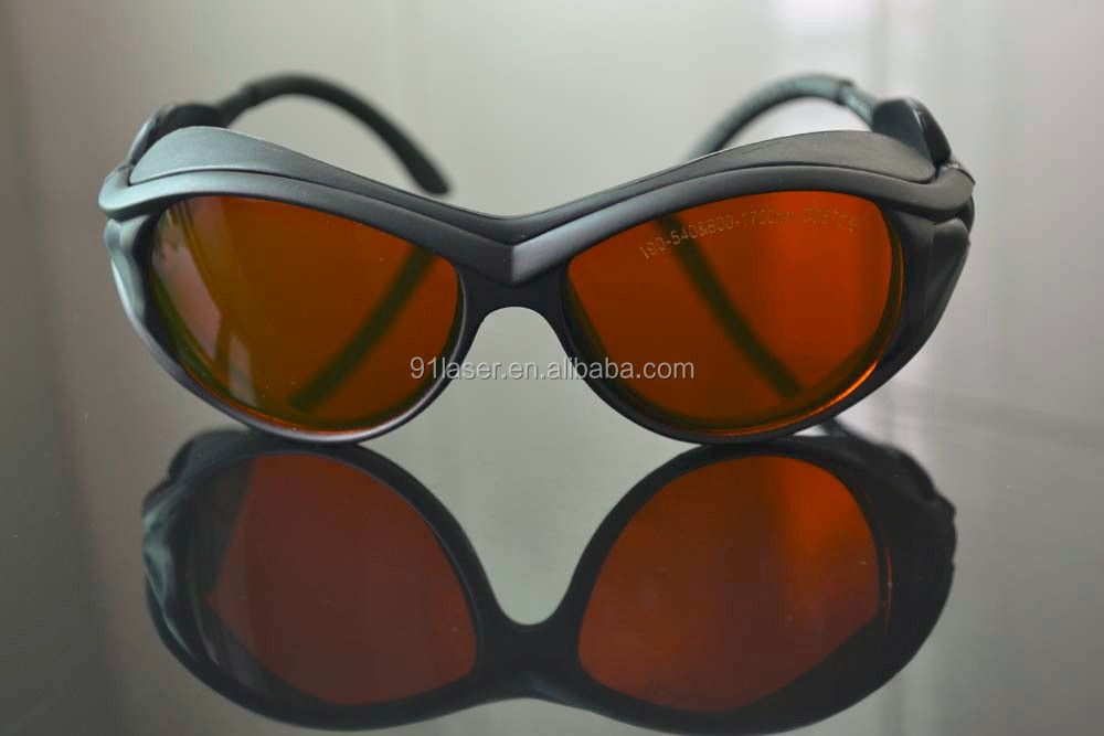 Laser safety glasses190-540nm & 800-1700nm <strong>O</strong>.D 5+ CE With black frame for 266 355 405-450, <strong>520</strong> 532nm and 808 980 1064nm etc.