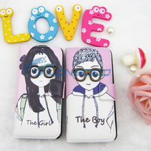 High quality Girl and Boy lovers folding wallet Leather portfolio Case For iPhone 5G