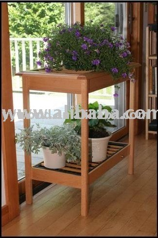 wooden plant stand table