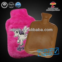 BS natural rubber hot water bag with embroidery flying horse plush cover