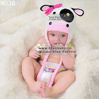 Handmade lovely crochet baby animal winter earflap cow hat for kids and children girls girls cute photo props