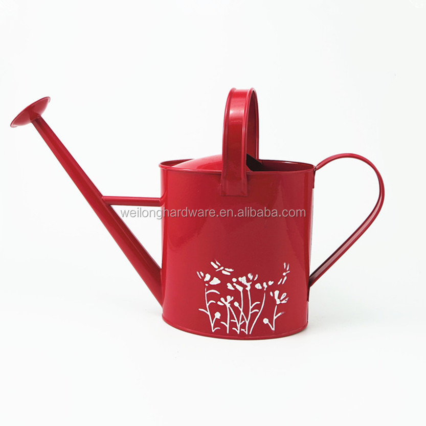 Oval Modern Style Galvanized Metal Watering Can Metal Watering Can with logo printing for garden