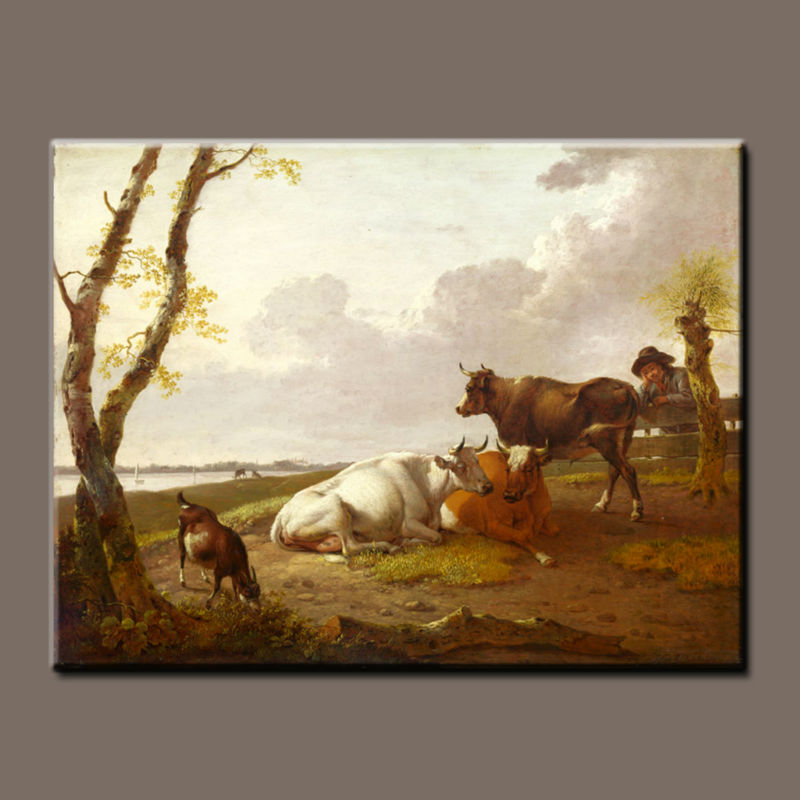 Pure hand-painted oil paintings with high quality animal cow home decorative painting on canvas
