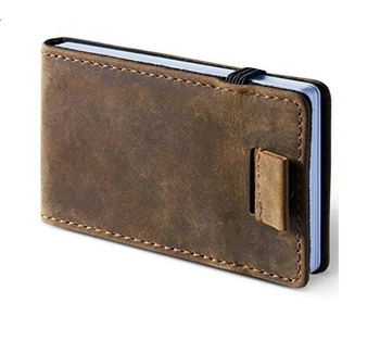 Boshiho hot sale men leather wallet elastic slim card holder minimalist front pocket Wallet
