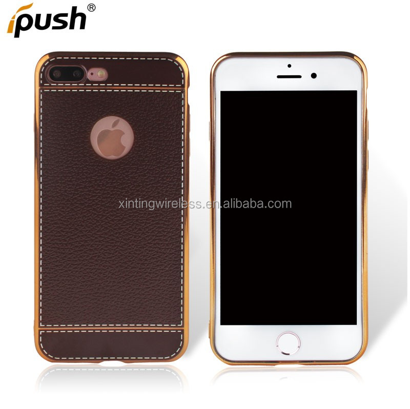 New Products Luxury Plated TPU Hybrid Leather Skin Mobile Phone Case for iPhone 7 Plus Shockproof Case