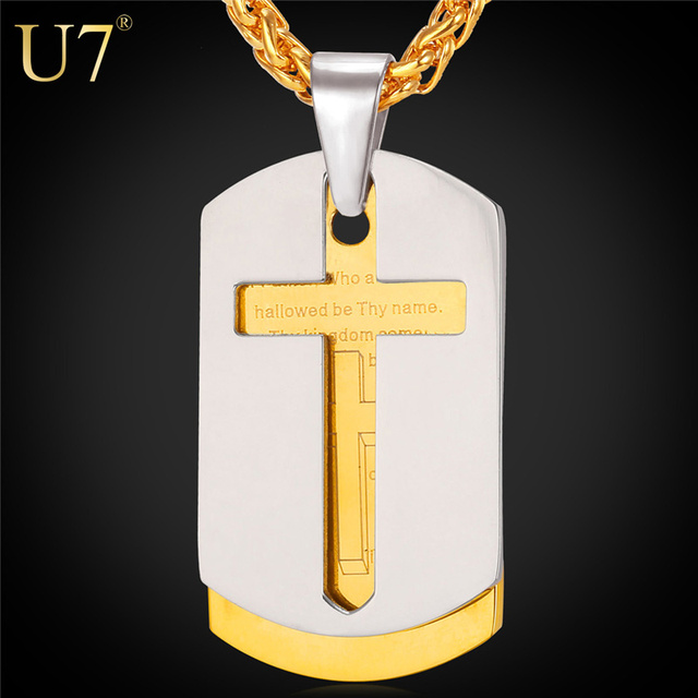 U7 Cross Necklace Men Bible Lords Prayer Gold Plated Stainless Steel Double Dog Tags Pendant  For Men Christian Jewelry P682