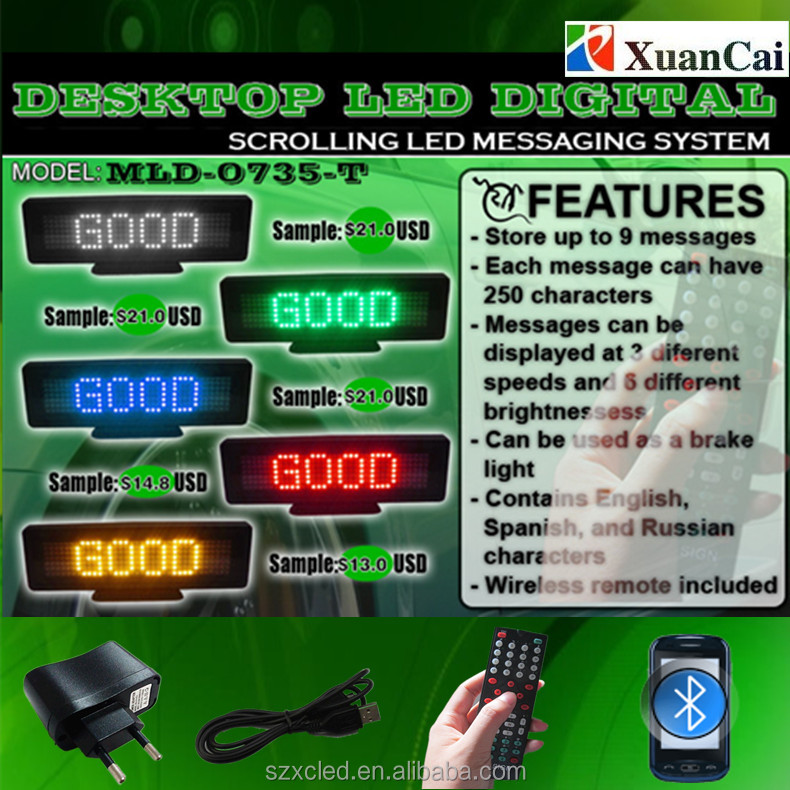 "10""(W)x 3""(H) x0.8""(<strong>D</strong>) Rear deck digital Desktop Programable scrolling message system Led Billboard Advertising Signs"