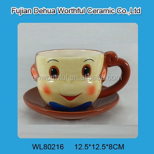 Hot sale ceramic monkey tea cup and saucer set