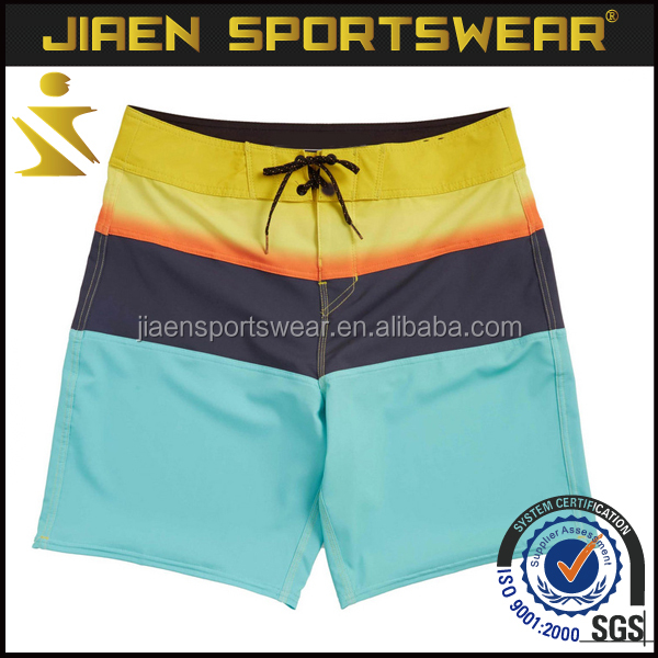 Swimwear/swimsuit sublimation 3 main colors surf shorts manufacturer four way stretch custom board shorts