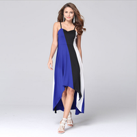 latest syle pollover fashion sleeveless patchwork irregular long party evening casual sexy color combination for blue dress