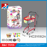 Most popular play at home kids metal supermarket shopping cart toy HC316824